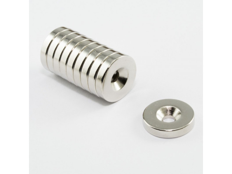 Неодимовый магнит кольцо 15x5 мм с зенковкой 3.5/7 мм