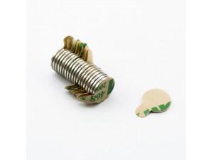 Неодимовий магніт шайба з самоклейкой 10х1 мм