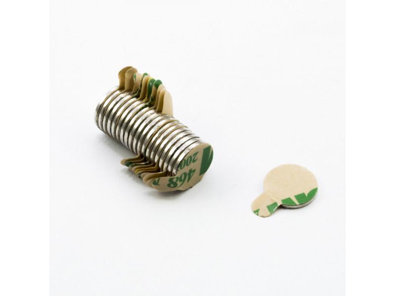 Неодимовый магнит шайба с самоклейкой 10х1 мм