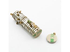 Неодимовий магніт шайба з самоклейкой 12х2 мм